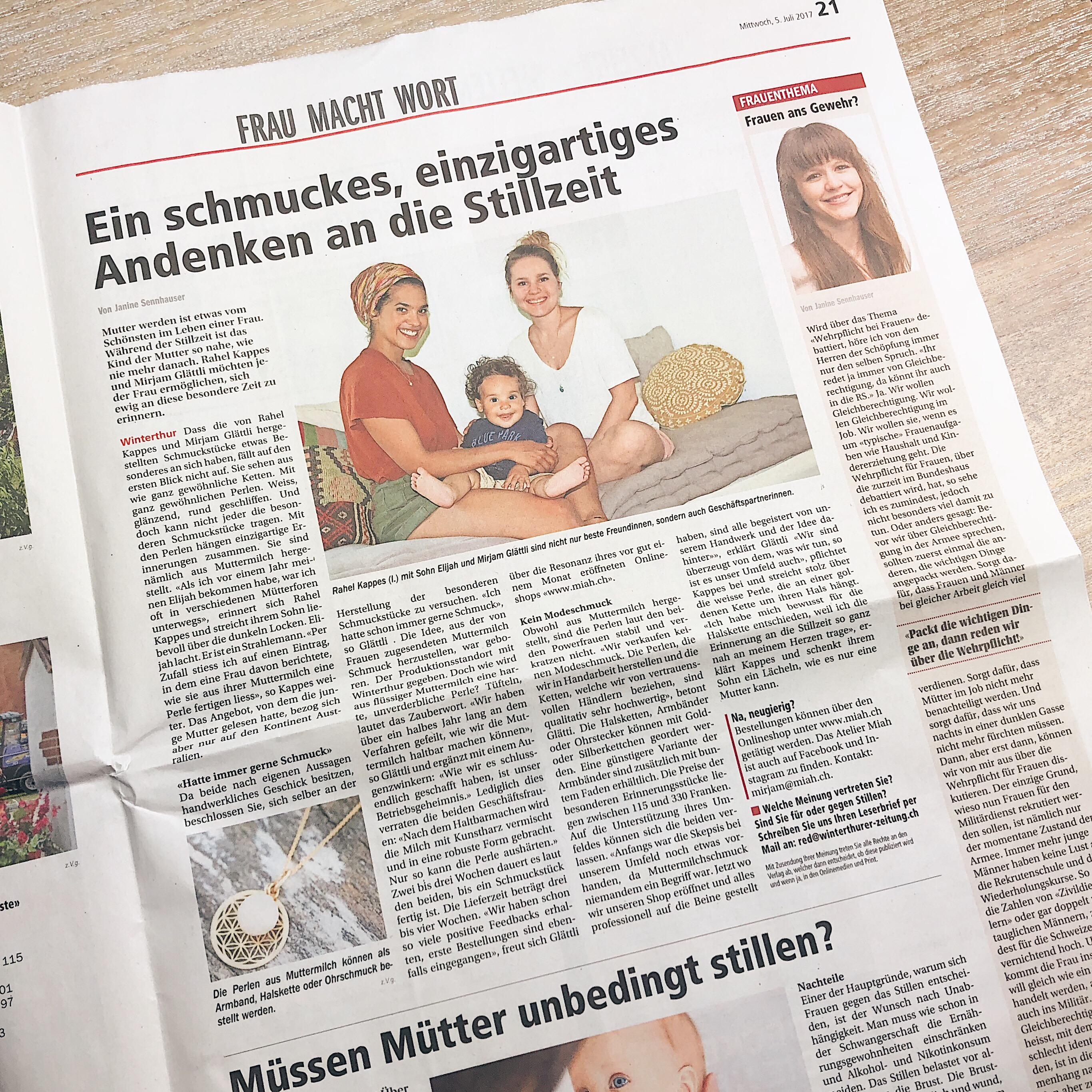 Winterthurer Zeitung Atelier Miah Erinnerungsschmuck Schmuck aus Muttermilch Andenken Stillen