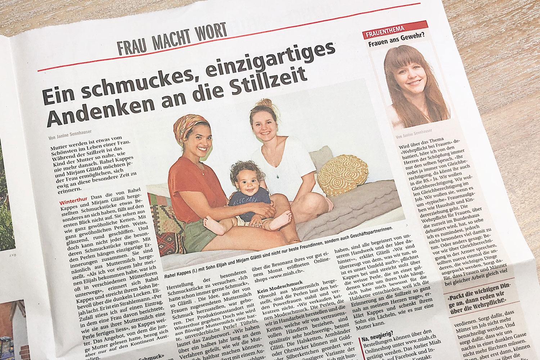 Atelier Miah Winterthurer Zeitung Andenken an die Stillzeit