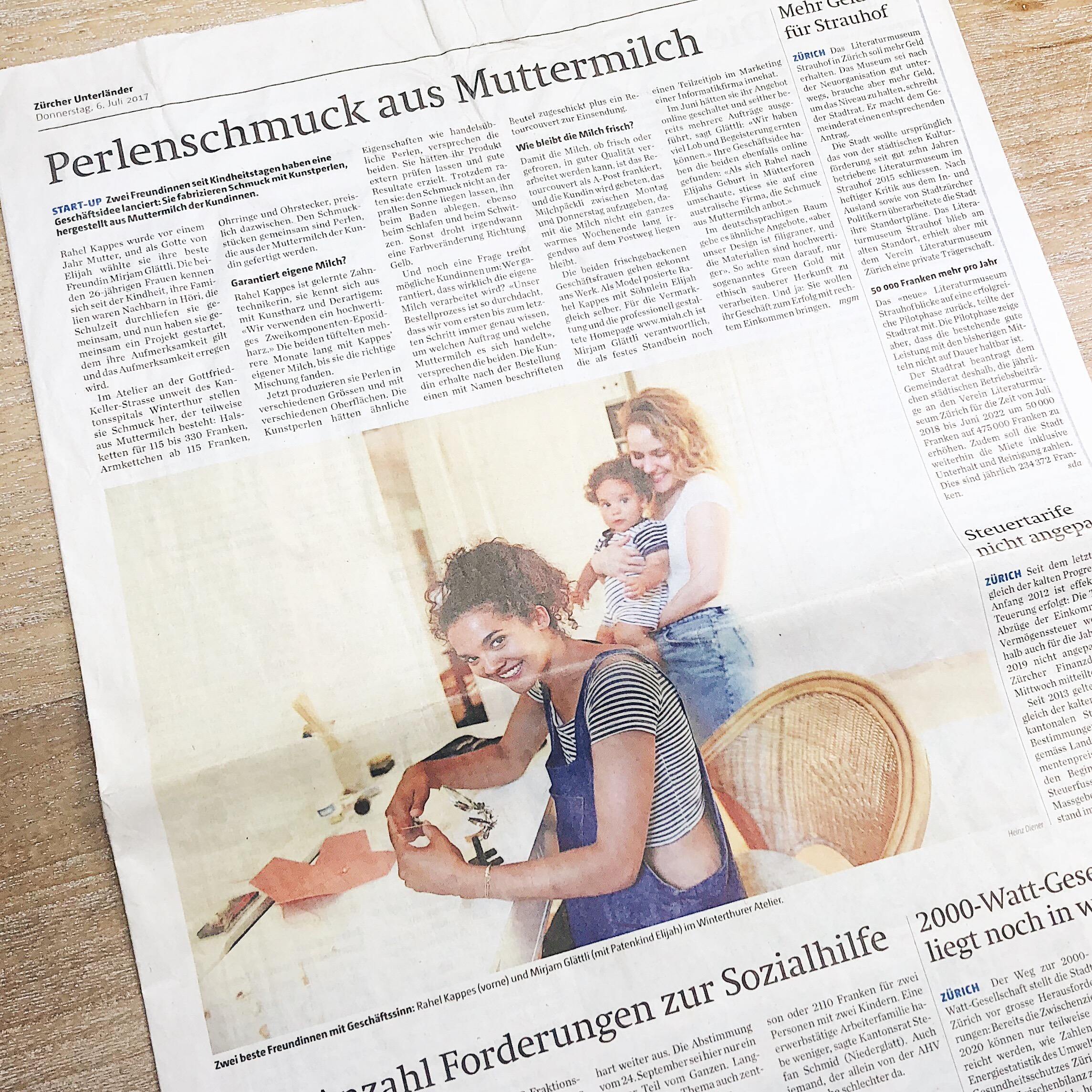 Winterthur Atelier Miah Erinnerungsschmuck Schmuck aus Muttermilch Andenken Stillen