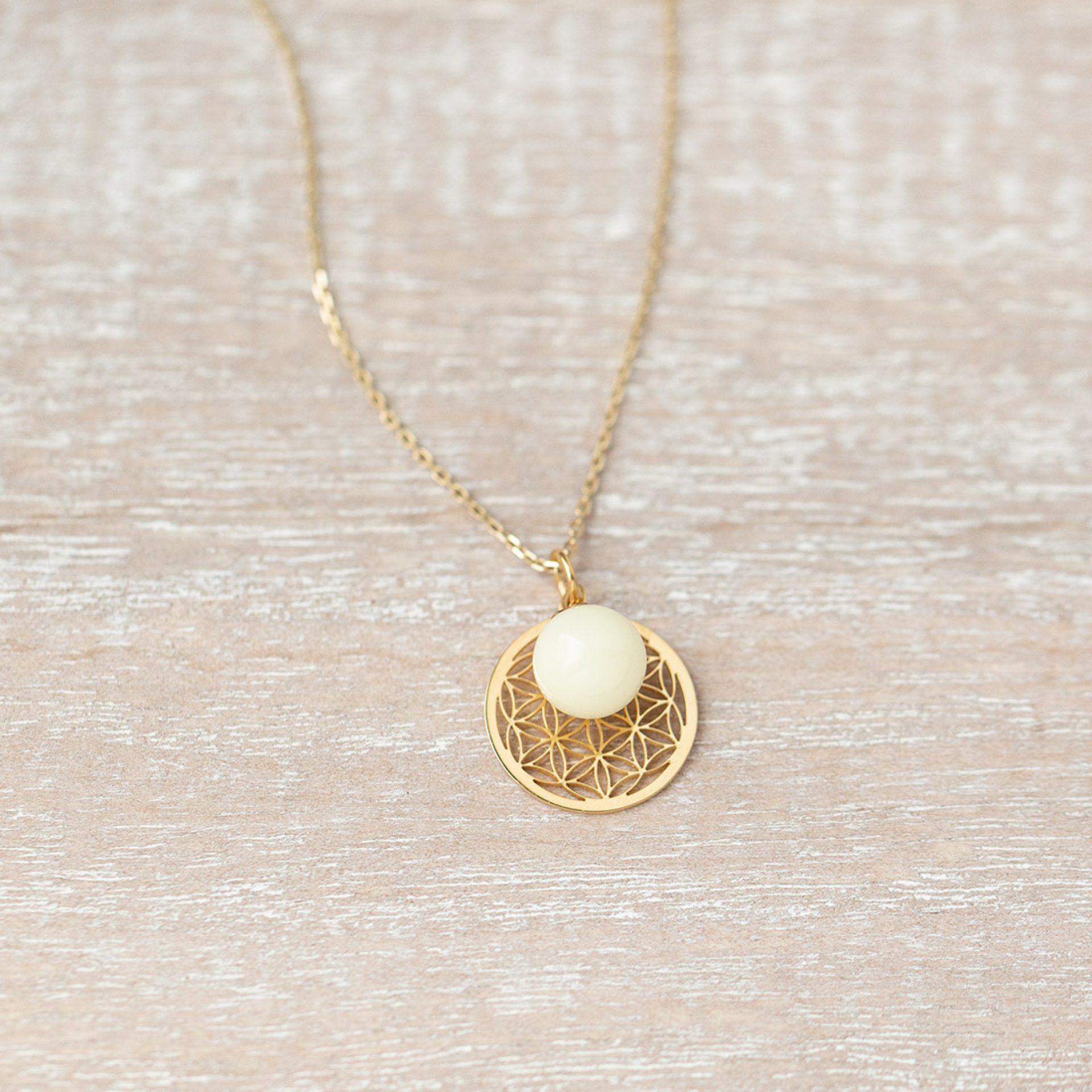 Muttermilchkette mit Lebensblume in Silber oder Gold