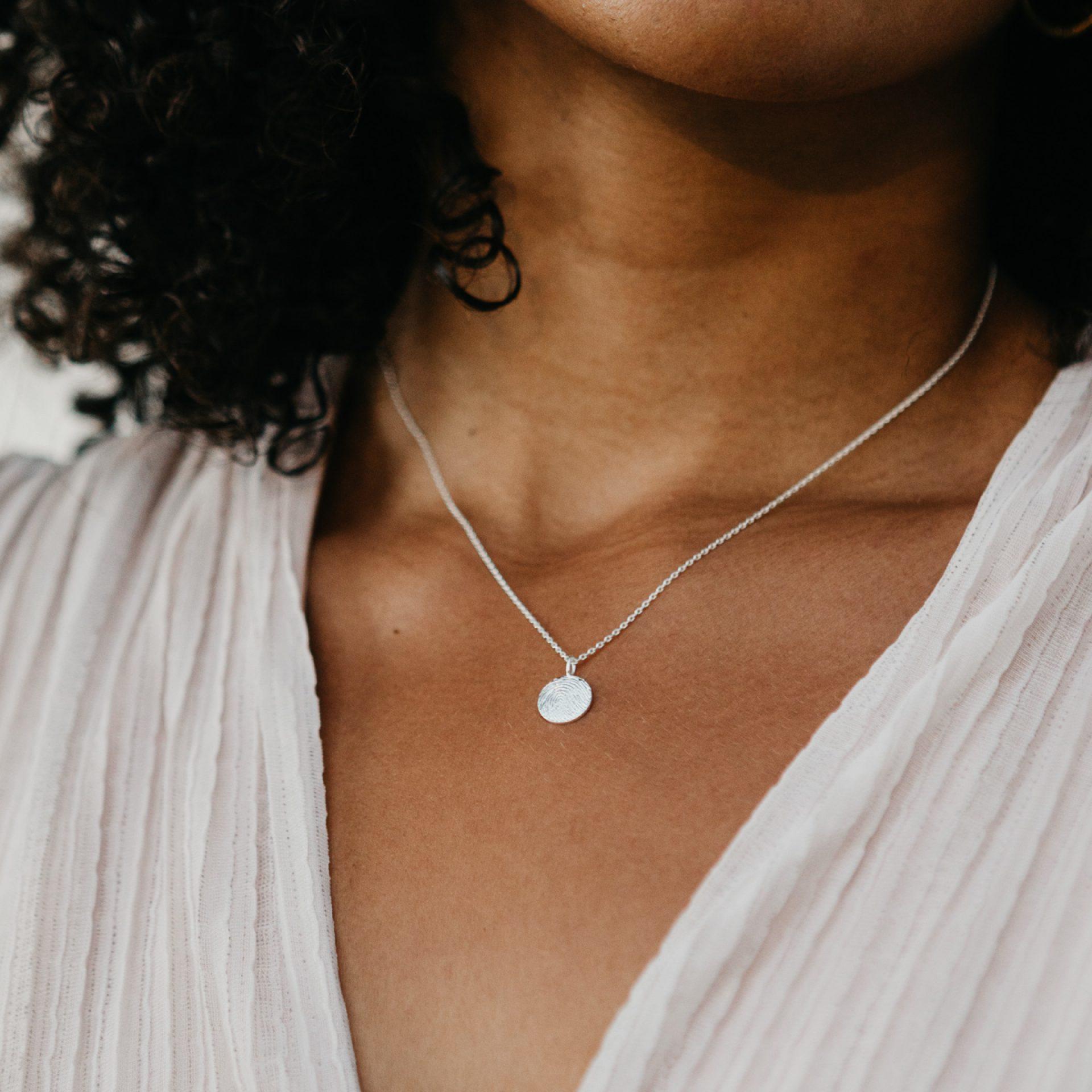 Silber Halskette mit Fingerabdruck Fingerprint Anhänger Hochzeit Partnerkette
