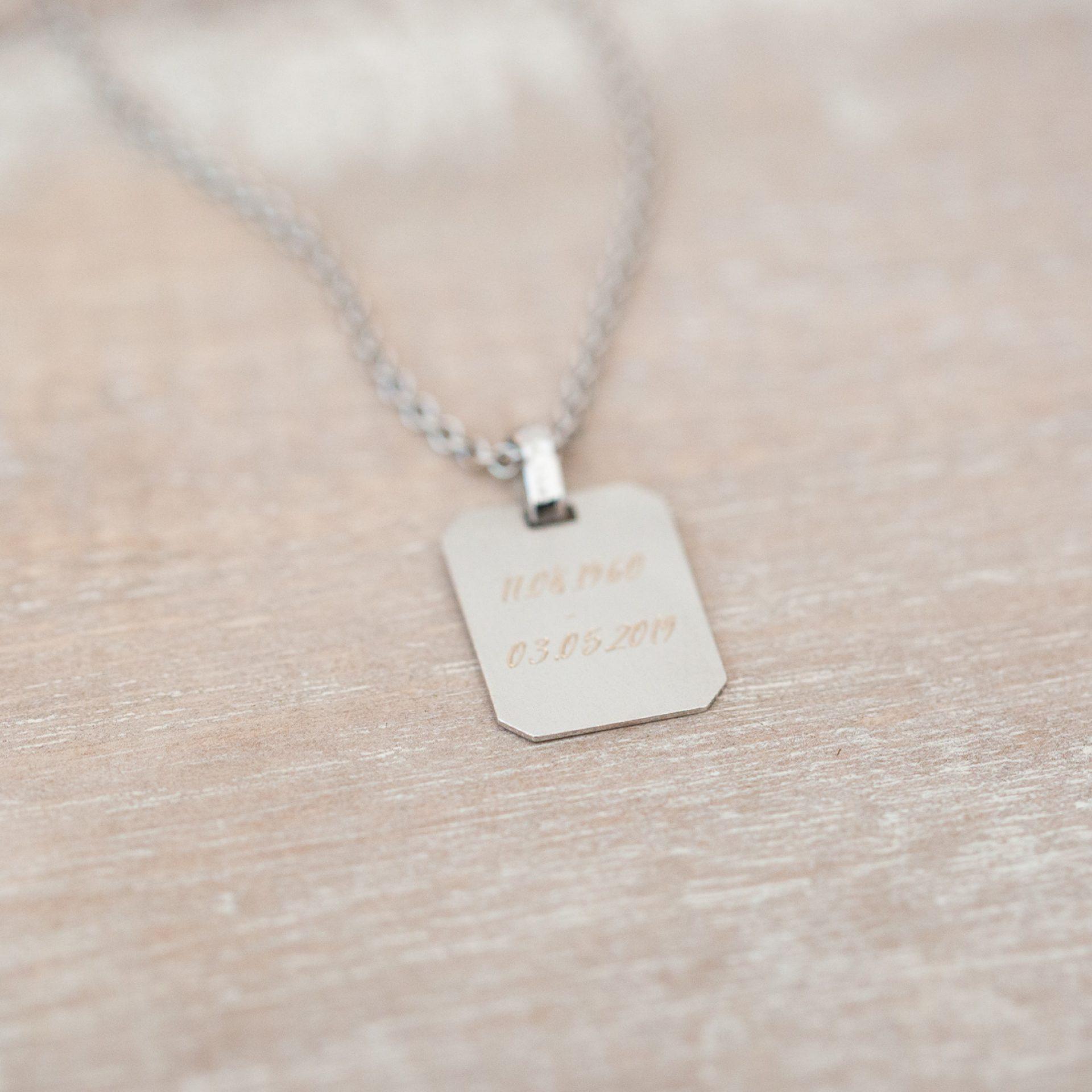 Fingerabdruck Halskette für Männer Fingerprint 750 Gold