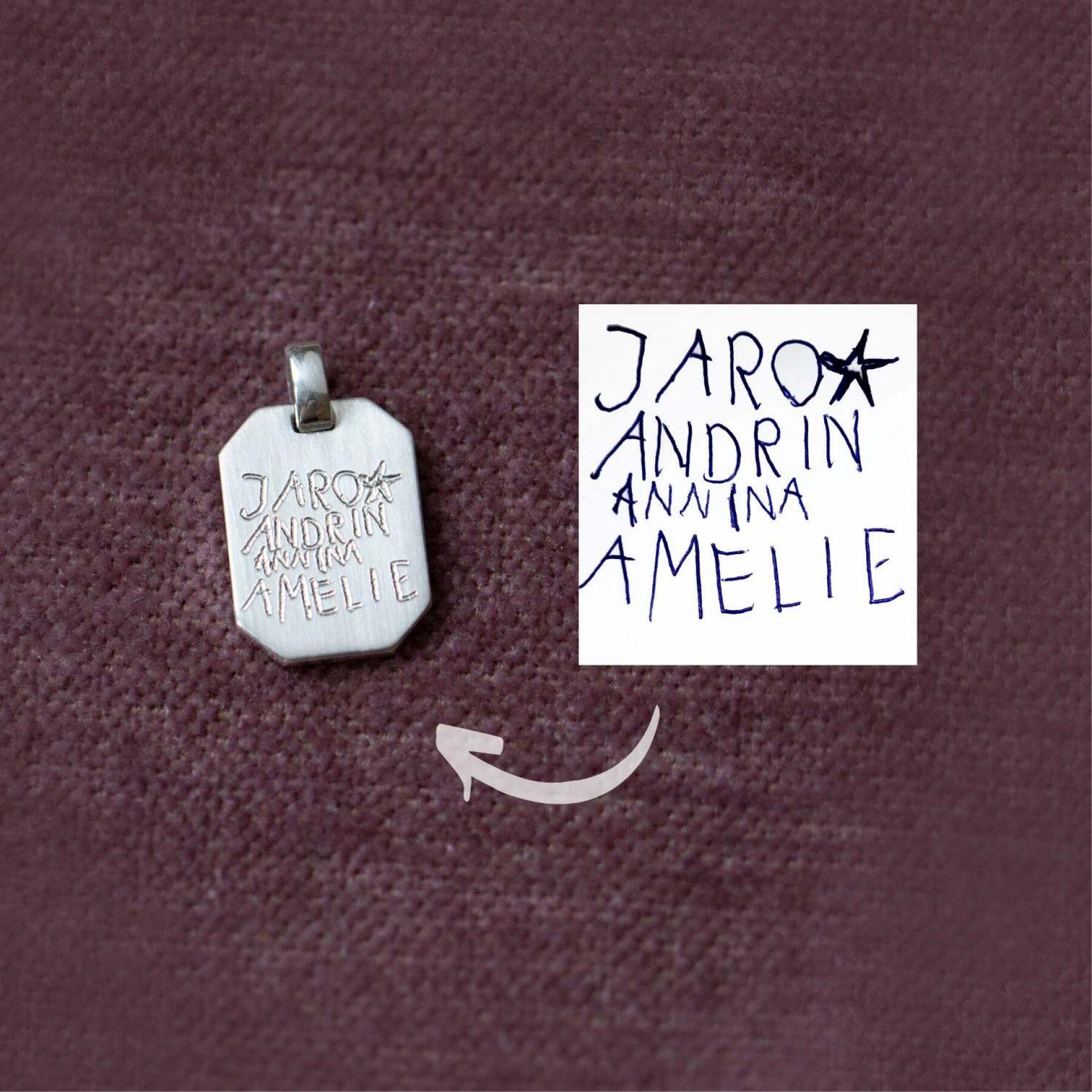 Anhänger SIlber mit Gravur Kinderhandschrift Namen Silberkette Mann Geschenk