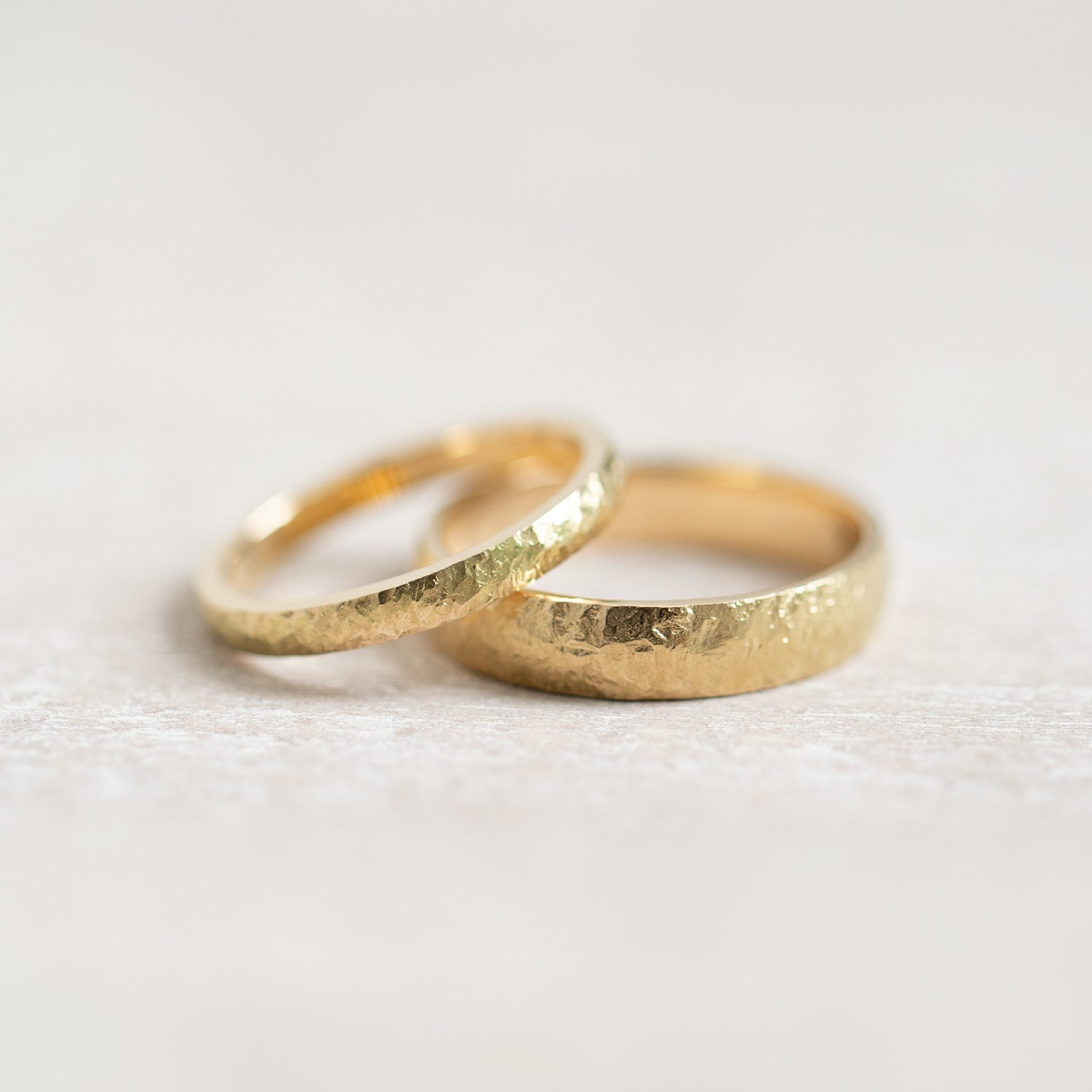 Set Eheringe Gehämmert Ehering Gold Set