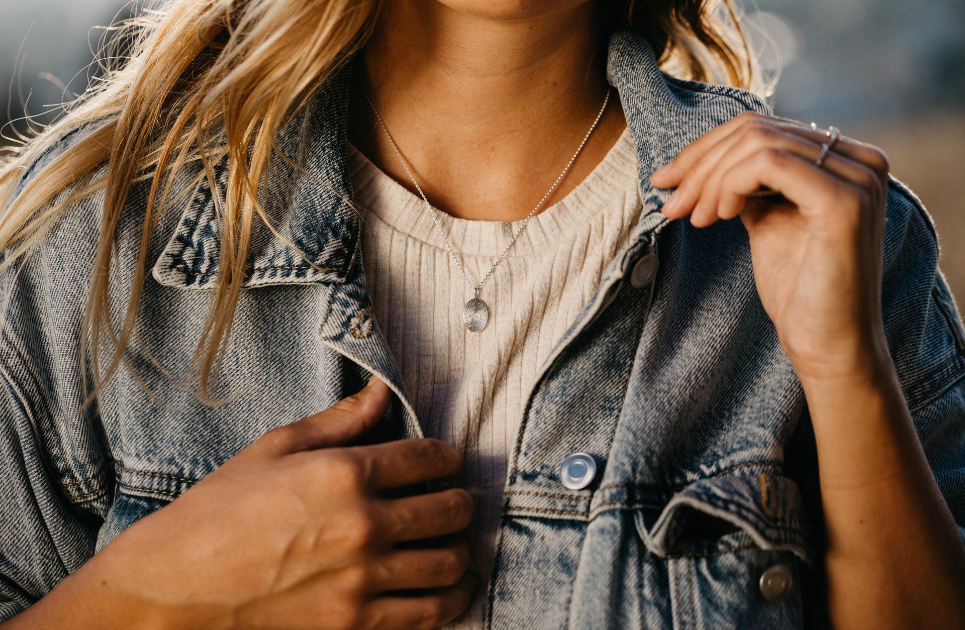 Fingerabdruck Gravur personalisiert Halskette Anhänger